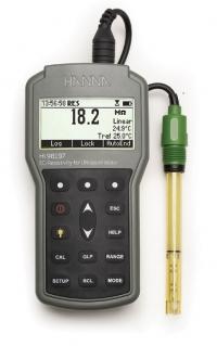 Máy đo EC/TDS/Độ mặn/Điện trở kháng cầm tay chống thấm nước dùng cho nước siêu tinh khiết Hanna HI 98197